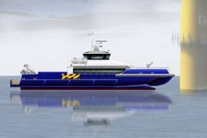 Incat Crowther designed wave piercing hull form vessel with twin HamiltonJet HM651 waterjets. Photo courtesy HamiltonJet