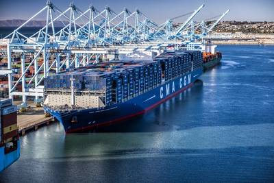 File Image: The CMA CGM Containership Benjamin Franklin is built to carry nearly 18,000 Twenty-Foot Equivalent Units (image: Marad)