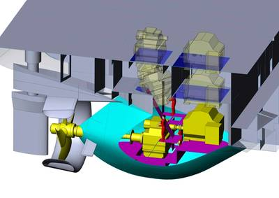 The twin fin propulsion system from Caterpillar was recognized as the Commercial Application of the Year  at the 17th annual Platts Global Energy Awards Courtesy Caterpillar