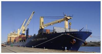 The Baltic Mecur II arrived at the Columbus Street Terminal on January 8, 2016 as the first vessel call by Atlantic Ro-Ro Carriers, a new regular shipping service. (Photo: SCPA)