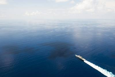 The littoral combat ship USS Fort Worth (LCS 3) conducts patrols in international waters of the South China Sea near the Spratly Islands in May 2015. (U.S. Navy photo by Mass Communication Specialist 2nd Class Conor Minto/Released)