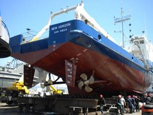 """Completing under-water hull and machinery repairs on Scripps Institution of Oceanography's """"R/V New Horizon"""" at Bay Ship & Yacht's shipyard in Alameda, CA."""