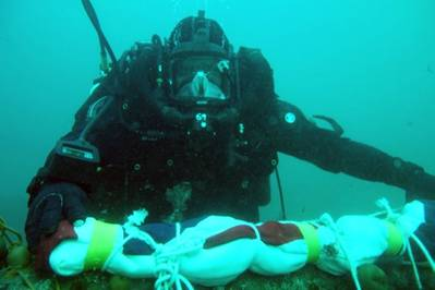 Naval divers return to the wreck of HMS Royal Oak to replace her White Ensign (Photo: UK Royal Navy)