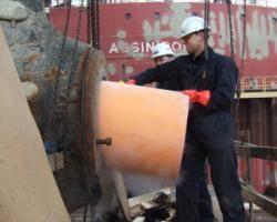 Installing Thordon's seawater lubricated propeller shaft bearing replacing metal bearing and oil