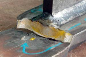 An example of steel fatigue failure after experimental testing at low temperature. (Source: LR)