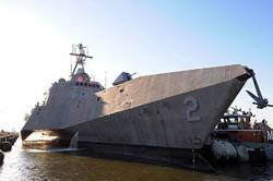 LCS USS Independence (LCS 2) arrives at Naval Station Norfolk. Independence conducted tests of the ship's capabilities and extensive training with the SeaRAM anti-ship missile defense weapon system during the transit from Austal USA shipyards in Mobile, Ala. to homeport in Norfolk. Independence will depart Naval Station Norfolk April 17 to participate in Fleet Week in Port Everglades, Fla. (U.S. Navy photo)
