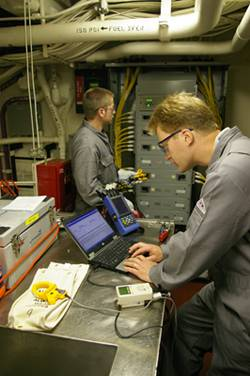 Alaris engineers perform an audit of energy use aboard a U.S. Coast Guard Cutter. (Photo courtesy Raina O Clark PR Cosulting)