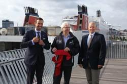 Dr. Dirk Claus (Port of Kiel), Kiel Lord Mayor Peter, Todeskino, Martin Wahl (Stena Line). (Photo Courtesy www.port-of-kiel.de)