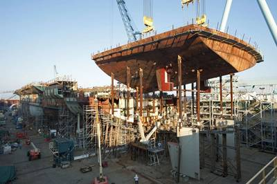 Newport News Shipbuilding completed an 825-ton superlift on the aircraft carrier Gerald R. Ford (CVN 78) on Sept. 12. At 90 feet long, 120 feet wide and 30 feet deep, the stern section superlift was among the largest of the 162 that comprise Gerald R. Ford.