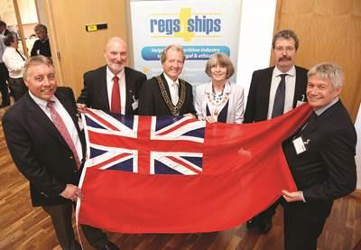 L-R: Captain Mark Capon, Captain Mick Caulkin, The Right Worshipful The Mayor of Southampton