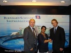 Dr. Ruanthi De Silva from Bernhard Schulte Shipmanagement (middle), along with Mr. John Inge Røtting from Wilhelmsen Ships Service (left) and Jonny Lotten from EDB ErgoGroup (right).