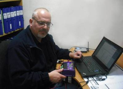 Royston's Steve Roberts tests enginei data controller.