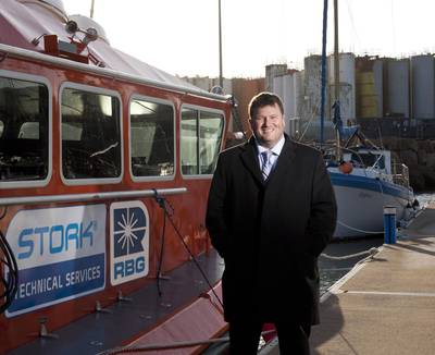 RBG's new marine & subsea director, Roddy James, with the company's bespoke dive intervention craft.