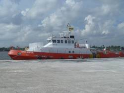 new build 36m vessel, Express Opportune, fast support intervention vessel capable of 25 knots and specifically prepared for the Anti-Piracy role.