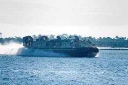 Landing Craft, Air Cushion (LCAC) amphibious transport vehicle.