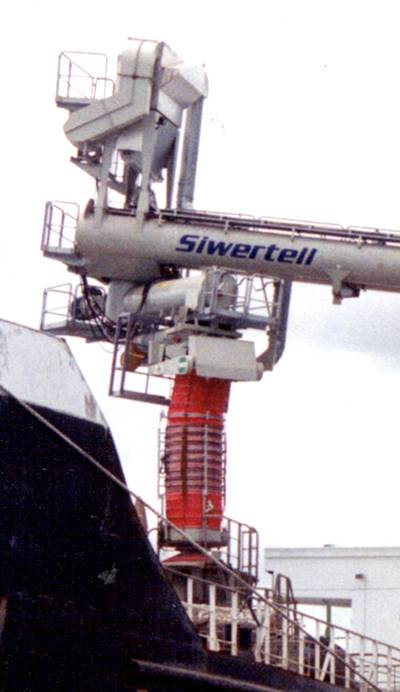 Siwertell totally enclosed loading system for a dust free operation.