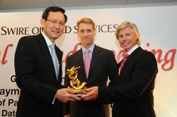 (Left to Right) Mr. Raymond Lim Siang Keat, Member of the Singaporean Parliament for East Coast GRC, Rupert Bray, chief operating officer for Swire Oilfield Services and Troy Brice, Asia Pacific general manager at Swire Oilfield Services.