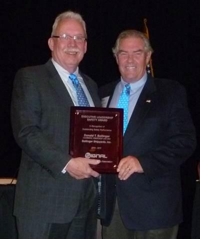 "Donald ""Boysie"" Bollinger accepts the 2011 Executive Leadership Safety Award."