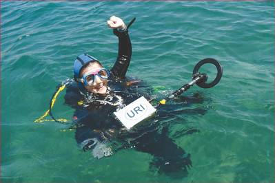 University of Rhode Island's Dr. Bridget Buxton dives on ancient shipwrecks in Israel with the Pulse 8X metal detector.