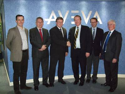 Magne Bakke, Chief Operating Officer, STX OSV AS and Richard Longdon, CEO, AVEVA with colleagues.