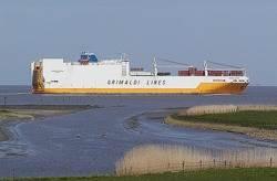 Containership Grimaldi Line: Photo credit Wiki CCL Ra Boe