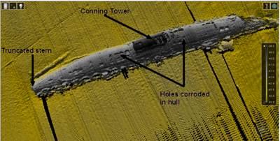 Multibeam sonar image of the WW1 U-Boat UC42 wreck taken by the UL smart robot, ROV Latis.
