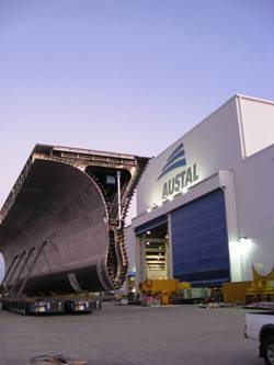 The third Joint High Speed Vessel (JHSV) is taking shape on the waterfront.
