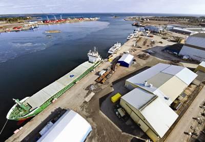 Swedish ship repair and maintenance yard Oskarshamnsvarvet in Oskarshamn.