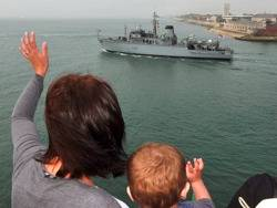HMS Atherston Departs: Photo credit MOD