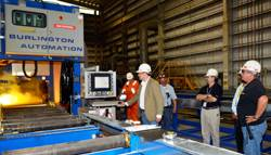 Executives from the two companies gathered this week at the BAE Systems Mobile shipyard to oversee the initial cutting of steel.