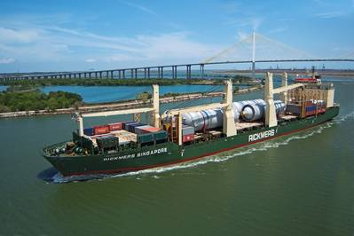 One of the first Rickmers vessels to implement ABB's EMMA Energy Management system is Rickmers Singapore, which operates on Rickmers-Linie's scheduled Pearl String round-theworld service. She is seen here navigating the Houston Ship Channel.