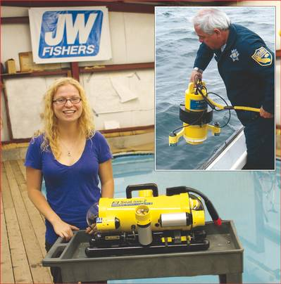 University of Maine graduate student Jennifer McHenry at Fishers factory with SeaLion-2 ROV