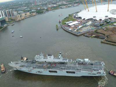 'HMS Ocean' at Greenwich: Photo credit UK MOD