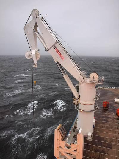 400t active heave compensated MacGregor offshore crane onboard North Sea Giant.