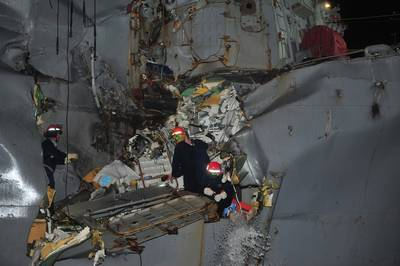 Guided-missile destroyer USS Porter (DDG 78) was damaged in a collision with the Japanese owned bulk oil tanker M/V Otowasan in the Strait of Hormuz. (U.S. Navy photo by Mass Communication Specialist 3rd Class Jonathan Sunderman)