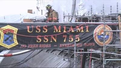 USS Miami Fire-damaged: Photo credit Porsmouth Naval Shipyard