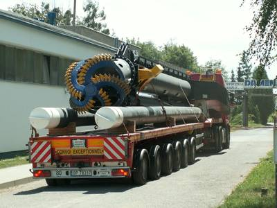 Spud and cutter ladder loaded on truck for transport to Rotterdam