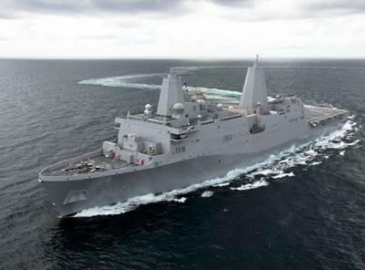 'Arlington' Sea Trial: Photo credit HII