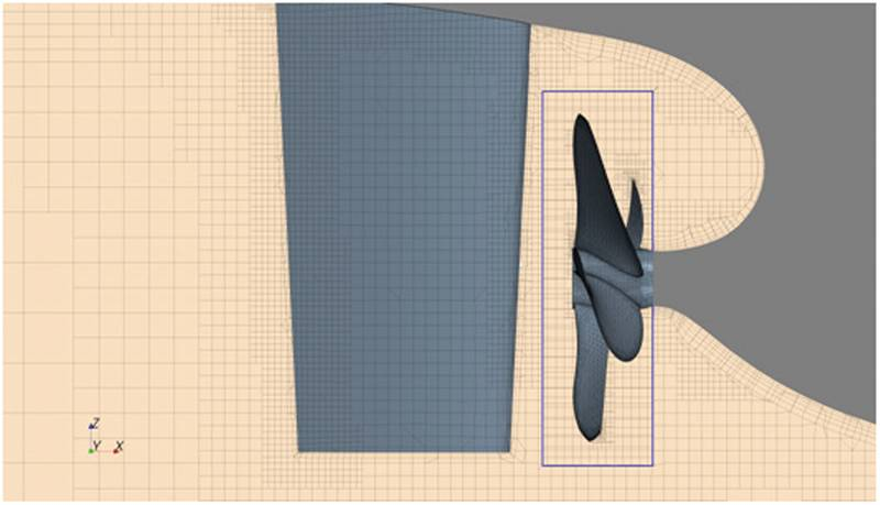 Fig. 10: Computational grid around propeller and rudder (highlighted is the boundary of the region rotating