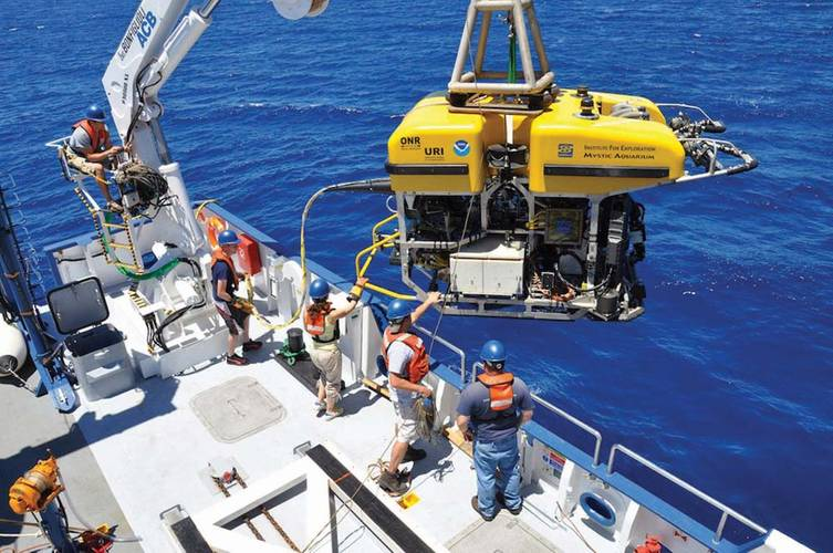 """URI students, technicians and scientists launch the remotely operated vehicle  """"Hercules"""" into the Black Sea to study the geology of the seafloor."""