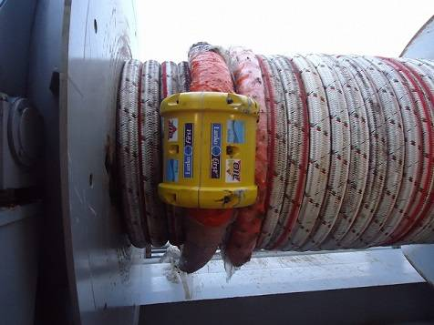 Lankofirst fiber rope connector on mooring line winch