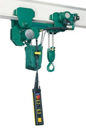 JDN Profi 2 TI hoist in low headroom trolley (2-ton lift capacity).