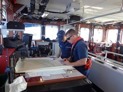 Crewmembers on the bridge of Coast Guard Cutter Margaret Norvell. U.S. Coast Guard photo.