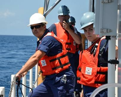 Underway aboard the service's newest fast response cutter. U.S. Coast Guard photo.