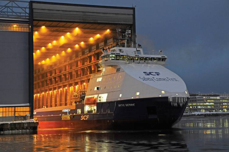 The first of two Arctic offshore supply vessels for Russia's SCF Group was recently delivered by Arctech Helsinki Shipyard