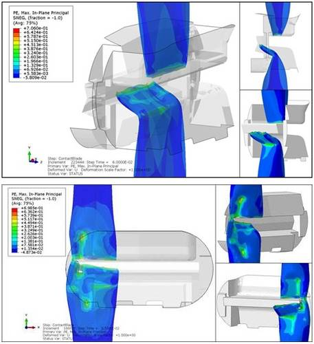 Abaqus FEA models showing the interaction between the drill pipe and the blind shear ram (BSR). Top image shows the complete shearing of the pipe when properly centered. Bottom image shows what happened when the blade did not fully engage the pipe because the pipe was not centered in the wellbore. The lateral forces due to buckling below the BSR pushed the pipe off center and caused the closing rams to deform the pipe rather than shearing it.
