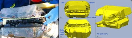 (Left) Photograph and (Right) laser scans of damaged blind shear ram (BSR).