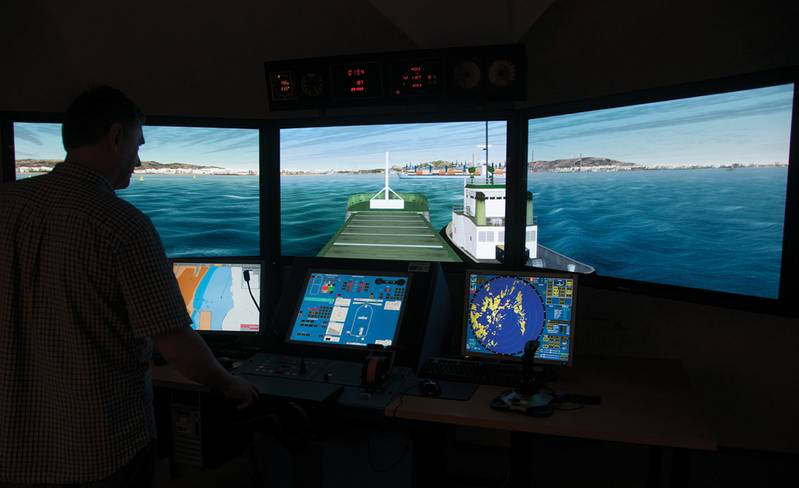 A simulator that works with a tug simulator in a separate room.
