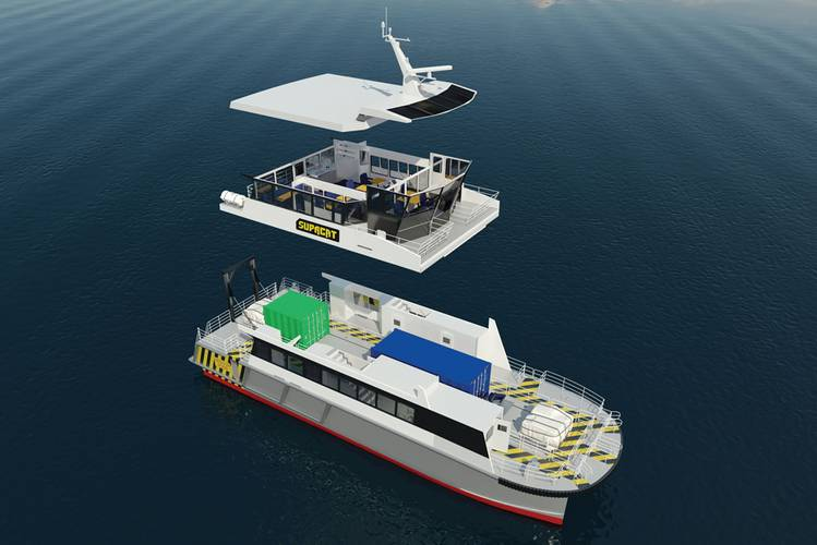 IncatCrowther's latest innovation for offshore wind farm support catamarans features a pass-through cargo deck and resiliently mounted passenger cabin.