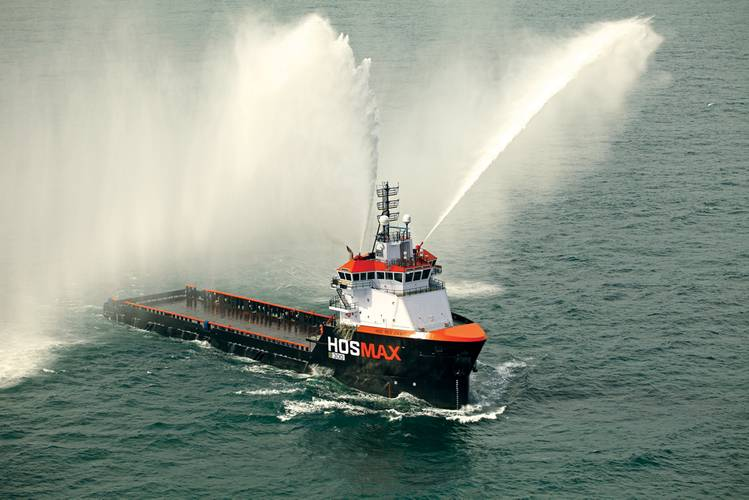 The HOS Red Dawn: first 300 class HOSMAX vessel delivered in June 2013 under the current OSV newbuild program, on her sea trials.